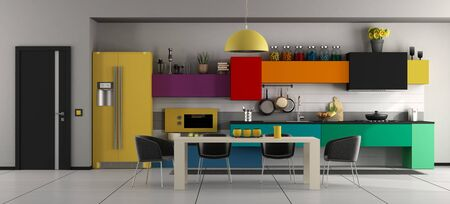 Colorful modern kitchen with white dining table ,black chairs and closed door - 3d rendering 스톡 콘텐츠
