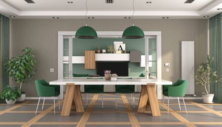 Modern dining room with open sliding door and televison set,sofa on background 3d rendering