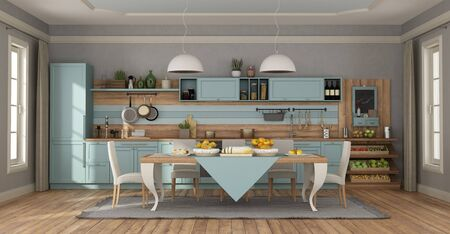 Clear blue classic kitchen with elegant table set and chairs - 3d rendering 스톡 콘텐츠