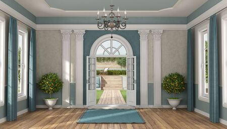 Home entrance of a luxury villa in classic style with garden on background - 3d rendering Foto de archivo - 129167957
