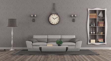 Elegante sala de estar gary con sofá y nicho con libros - representación 3d Foto de archivo