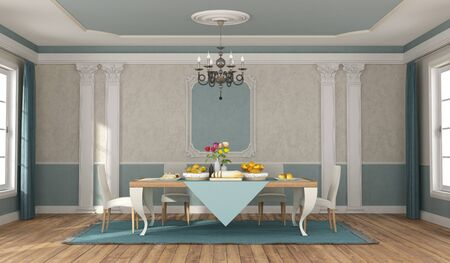 Blue and beige dininig room with elegant table set and chairs in classic style - 3d rendering 스톡 콘텐츠
