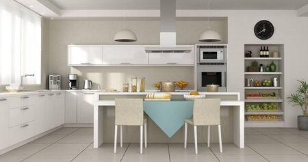 Cocina blanca minimalista con isla - 3D rendering