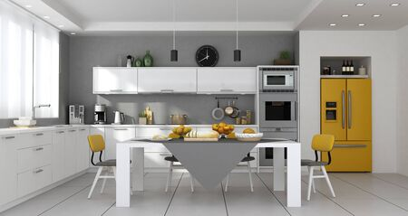 Modern kitchen with table set and built-in yellow fridge - 3d rendering 스톡 콘텐츠