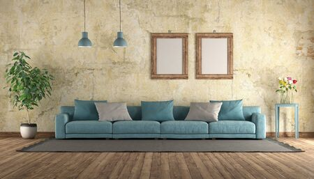 Modern blue sofa in a old room with grunge wall - 3d rendering