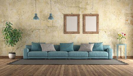 Sofá azul moderno en una habitación antigua con pared de grunge - representación 3d