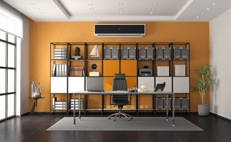 Gray and orange modern office with minimalist desk and large bookcase on background - 3d rendering Banque d'images