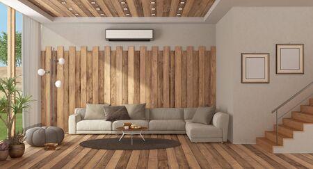 Moderna sala de estar con sofá contra la pared de madera y escalera - 3D rendering