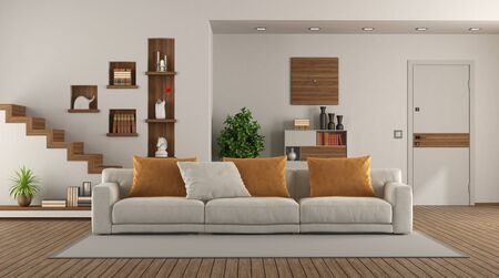 Elegant sofa in a modern living room with front door and staircase on background - 3d rendering