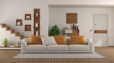 Elegantes Sofa in einem modernen Wohnzimmer mit Haustür und Treppe im Hintergrund - 3D-Rendering
