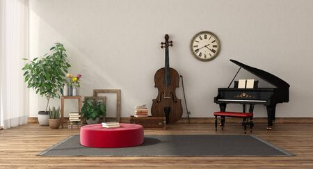 Sala della musica con pianoforte a coda e contrabbasso, pavimento in legno e parete bianca - rendering 3d