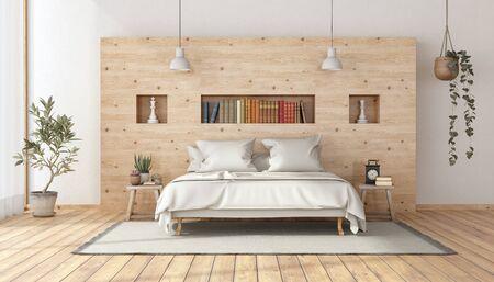 Dormitorio principal en estilo rústico con cama doble blanca minimalista contra la pared de madera - representación 3d