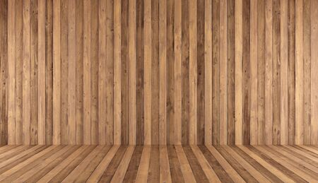 Old wooden room without furniture - 3d rendering Stok Fotoğraf