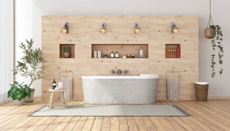 Cuarto de baño en estilo rústico con bañera contra la pared de madera con nicho - 3D rendering Foto de archivo