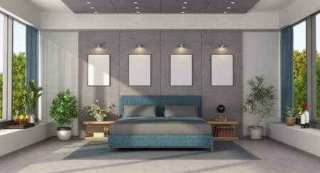 Modern master bedroom with blue double bed against concrete panels - 3d rendering