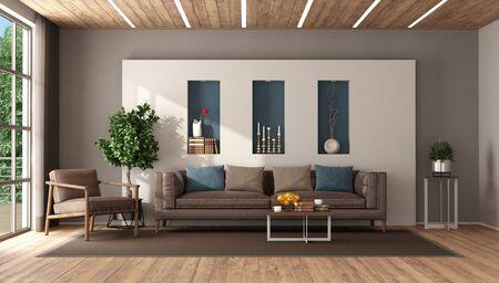 Sala de estar moderna con sofá de cuero y sillón contra la pared blanca y el techo de madera representación 3d
