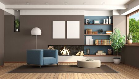Modern living room with fireplace with brown wall and blue armchair - 3d rendering