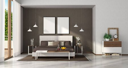 Modern master bedroom with elegant double bend,bench and chest of drawers - 3d rendering