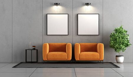 Minimalist concrete room with two orange armchairs and coffee table - 3d rendering