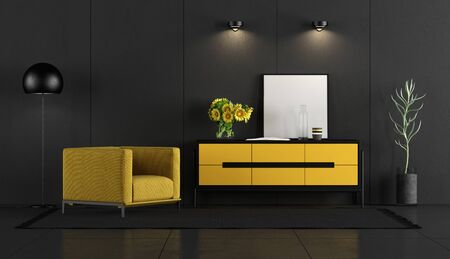 Black concrete room with yellow armchair and sideboard - 3d rendering 版權商用圖片