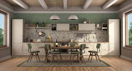 Classic style kitchen with wooden table and chairs,green wall and wooden ceiling - 3d rendering Banco de Imagens