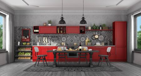 Red classic style kitchen with black wooden table and chairs - 3d rendering Banco de Imagens