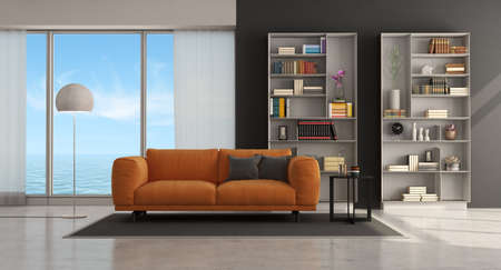Moder living room with orange sofa and bookcase on background - 3d rendering