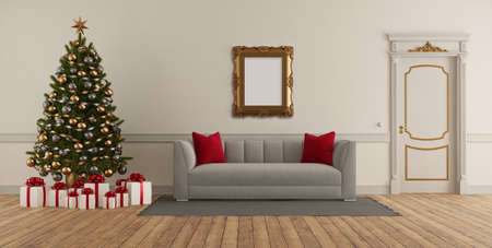 Classic style living room with Christmas tree, elegant sofa and closed door - 3d rendering