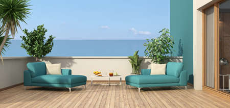 beautiful terrace overlooking the sea with chaise lounges - 3d rendering 免版税图像