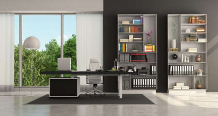 Black and white modern office with desktop and bookcase - 3d rendering