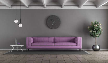 Modern living room with purple sofa against gray wall - 3d rendering
