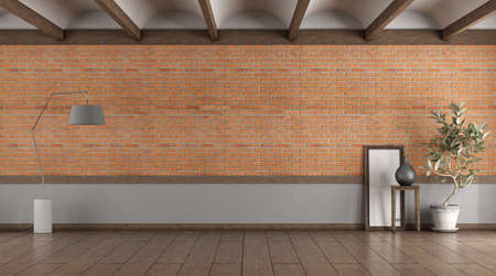 Empty room with brick wall, fllor lamp and houseplant - 3d rendering