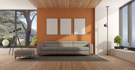 Living room with large window and gray sofa against orange wall - 3d rendering 免版税图像