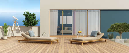 Terrace of a modern villa overlooking the sea and two chaise lounges on hardwood floor - 3d rendering