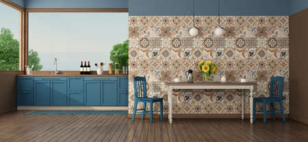 Kitchen under the window with table in front of a wall with vintage tiles - 3d rendering 免版税图像