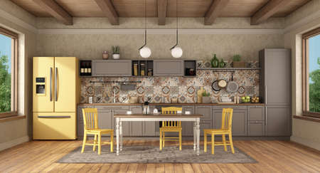 Brown and yellow vintage kitchen with dining table and chairs - 3d rendering