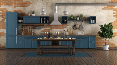 Classic style blue kitchen in a old room with brick wall - 3d rendering 免版税图像