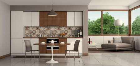 Living room with modern kitchen, round dining table and chaise lounge on background - 3d rendering