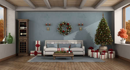 Retro living room with Christmas tree and gift - 3d rendering