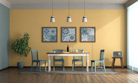 Vintage style dining room with blue chairs, wooden table against yellow wall - 3d rendering