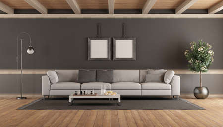 Living room with white sofa against gray wall - 3d rendering 免版税图像