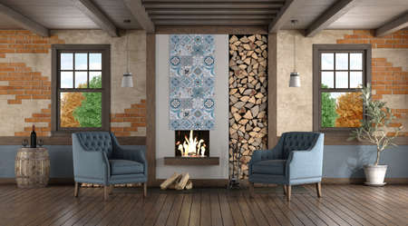 Rustic style room with old fireplace and two classic armchairs - 3d rendering