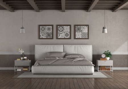 Minimaalist double bed in a old room with wooden ceiling and hardwood floor - 3d rendering 免版税图像