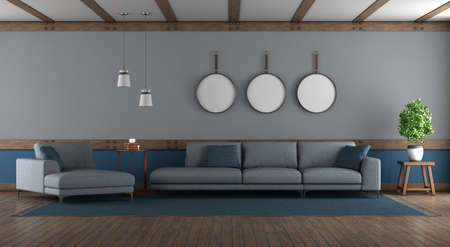Blue and gray elegant living room with sofa and chaise louge - 3d rendering 免版税图像
