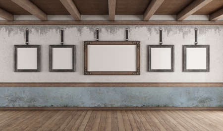 Retro style art gallery with picture frame on old wall and wooden ceiling - 3d rendering 免版税图像