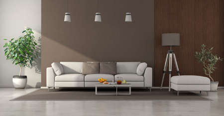 Minimalist living room with white sofa, brown wall and wooden panel - 3d rendering