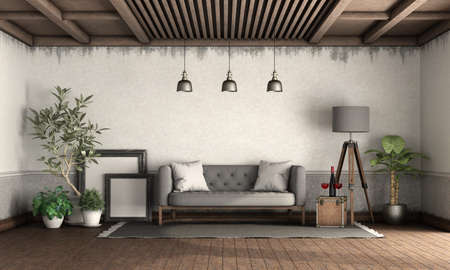 Retro style living room with old walls, wooden ceiling and gray sofa - 3d rendering 免版税图像