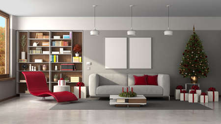 Modern living room with Christmas tree and gift - 3d rendering Stockfoto