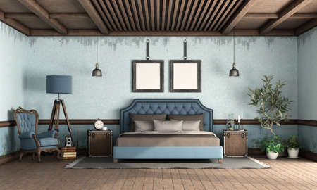 Blue retro bedroom with classic style double bed, old armchair and floor lamp - 3d rendering 免版税图像