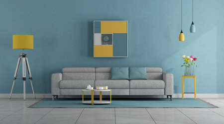 Modern pastel colors living room with sofa and floor lamp - 3d rendering 免版税图像